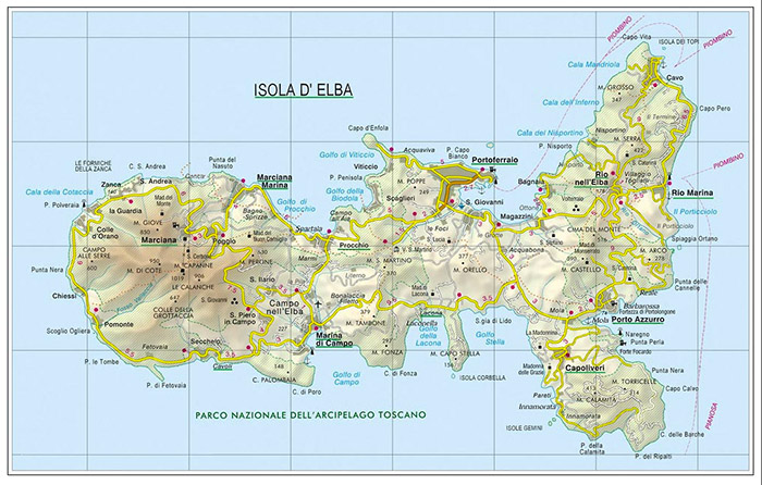 The map of Elba Island Detailed Elba map for safe traveling